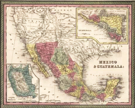 Map of Mexico & Guatemala, 1850, Mitchell and Cowperthwait