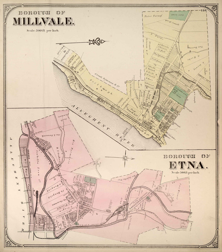 Hopkins' Map of Millvale and Etna, 1872