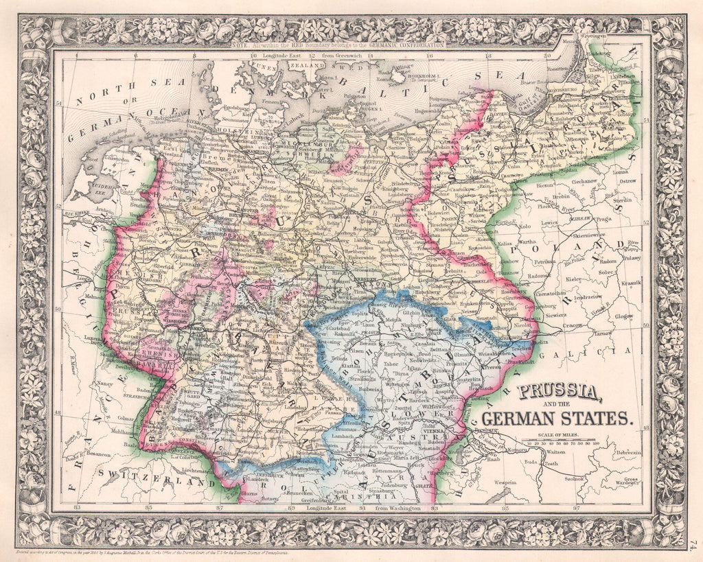 Map of Prussia, and the German States, 1880, Mitchell