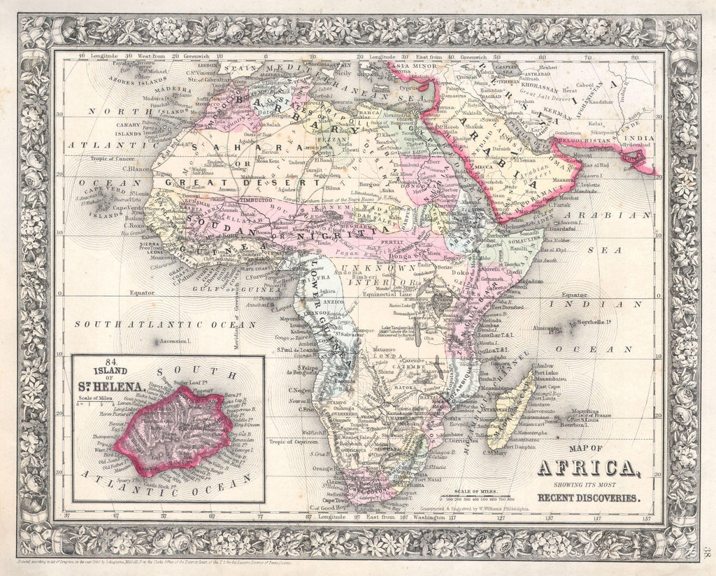 Map of Africa, 1860, Mitchell