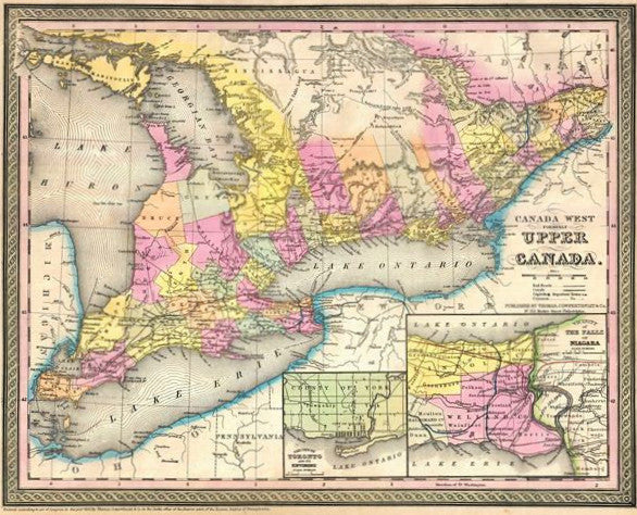 Map of Canada West formerly Upper Canada, 1850, Mitchell and Cowperthwait