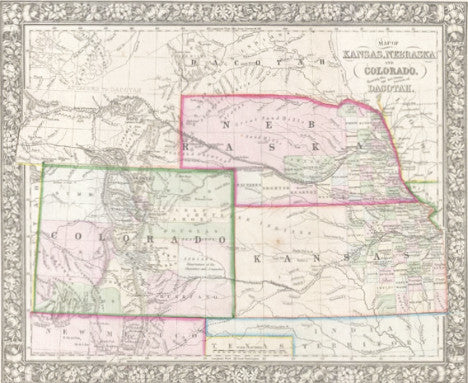 Map of Kansas, Nebraska, and Colorado (Showing also the southern portion of Dacotah), 1861, Mitchell