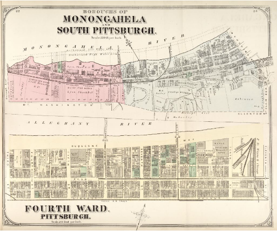 Hopkins' Map of Pittsburgh's Fourth Ward and the Boroughs of Monongahela and South Pittsburgh, 1872
