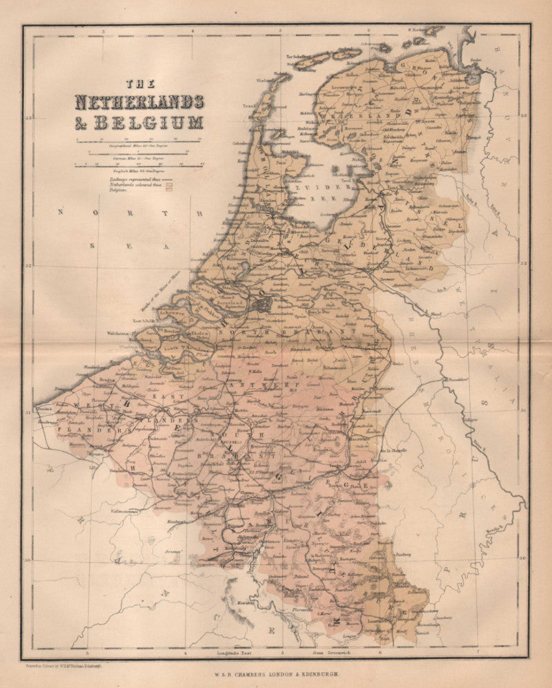 Map of the Netherlands and Belgium, c. 1860, Chambers
