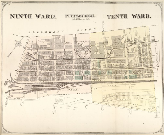 Hopkins' Map of Pittsburgh's Ninth and Tenth Wards, 1872