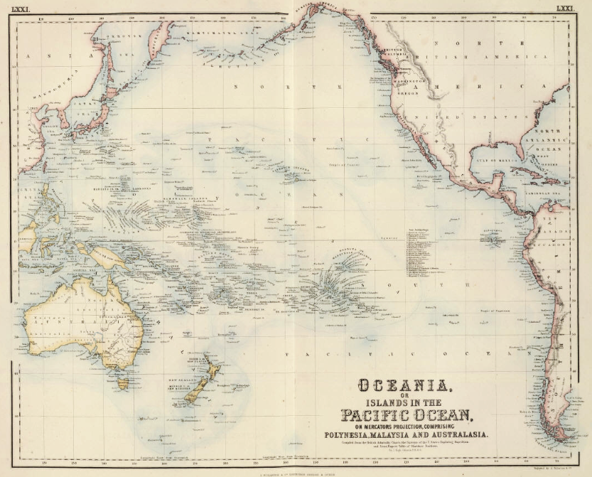 Map of Oceania, c. 1860, Fullarton