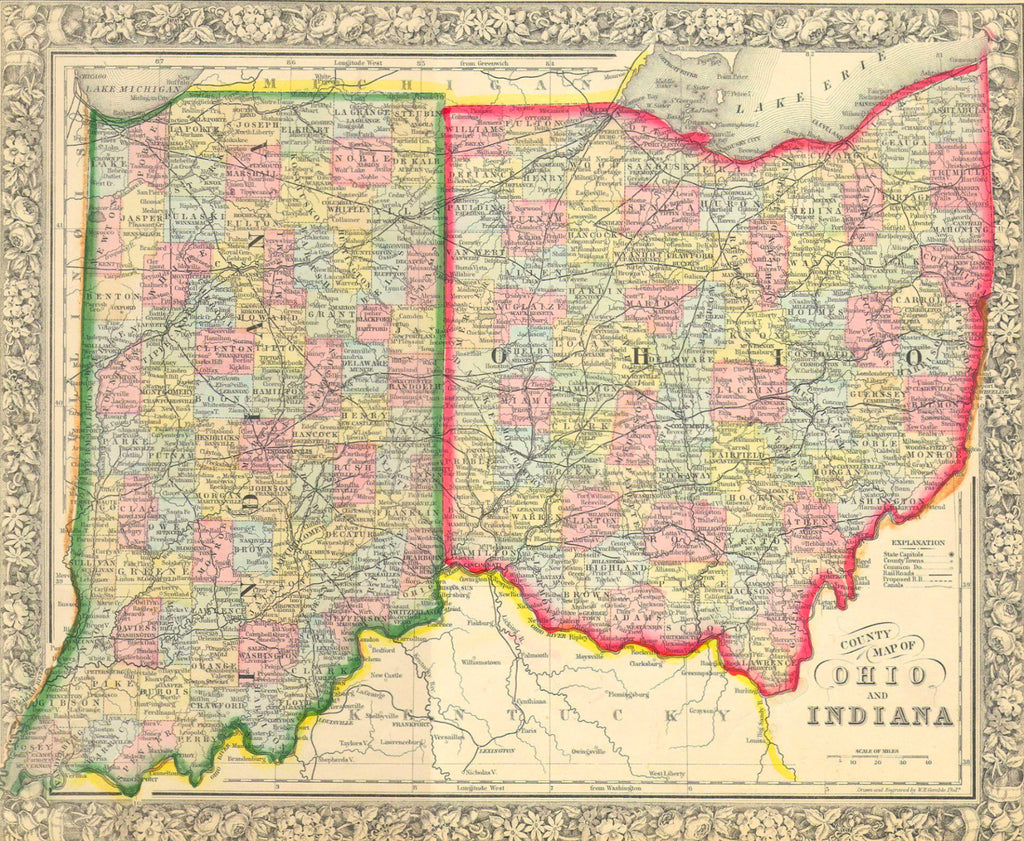 Map of Ohio and Indiana, 1860, Mitchell