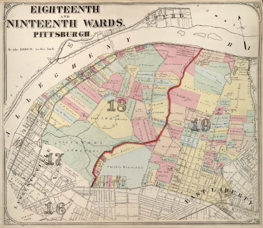 Hopkins' Map of Pittsburgh's Eighteenth and Nineteenth Wards, 1872