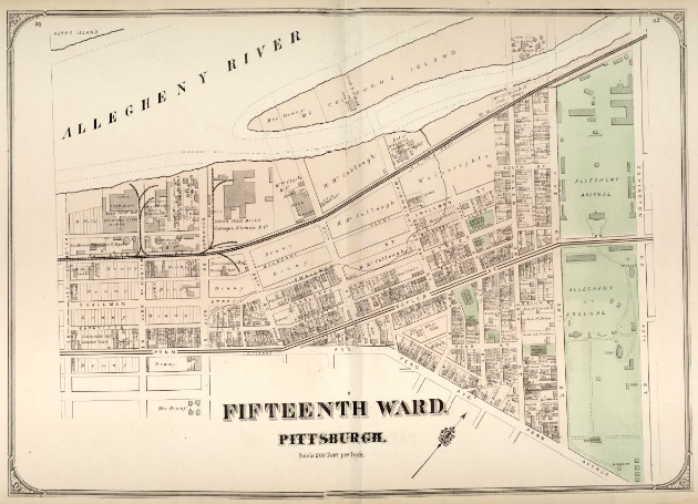 Hopkins' Map of Pittsburgh's Fifteenth Ward, 1872