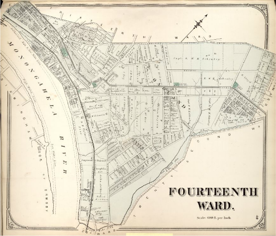 Hopkins' Map of Pittsburgh's Fourteenth Ward, 1872