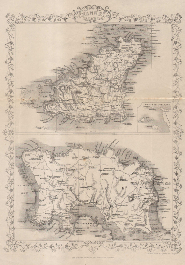 Map of the Channel Islands, 1851, Tallis