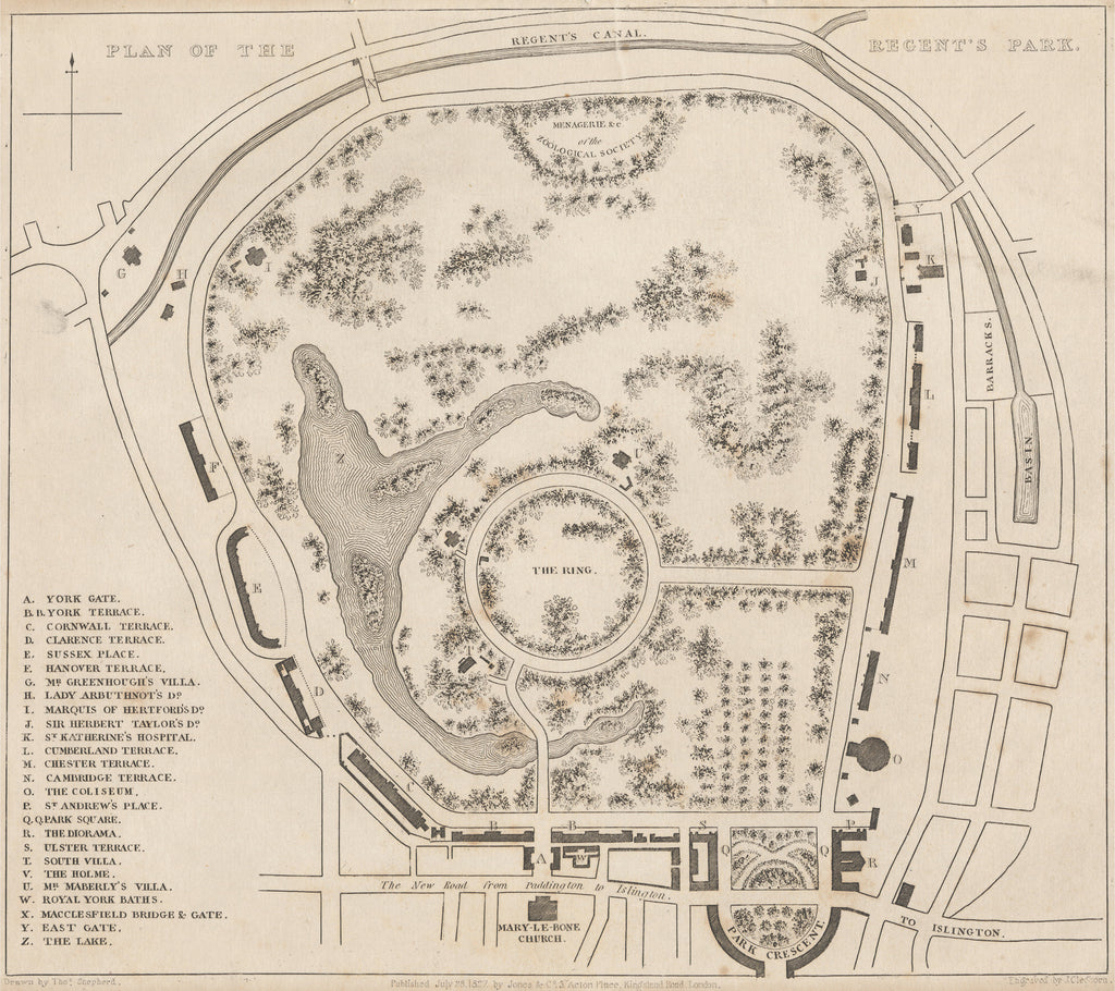 Plan of the Regent's Park by Shepherd, 1827.