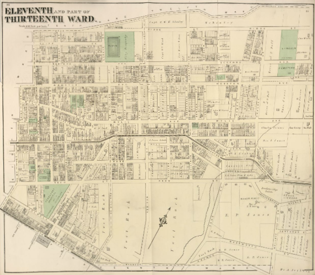 Hopkins' Map of Pittsburgh's Eleventh Ward and Part of the Thirteenth Ward, 1872