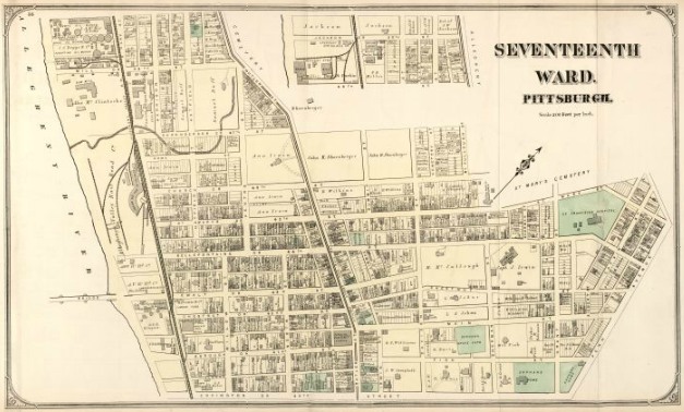 Hopkins' Map of Pittsburgh's Seventeenth Ward, 1872