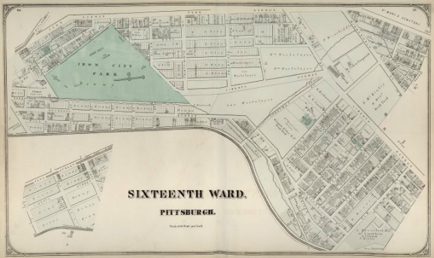 Hopkins' Map of Pittsburgh's Sixteenth Ward, 1872