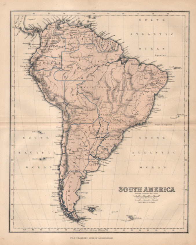 Map of South America, 1860, Chambers
