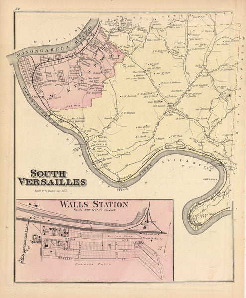 Hopkins' Map of North Versailles and South Versailles, 1876