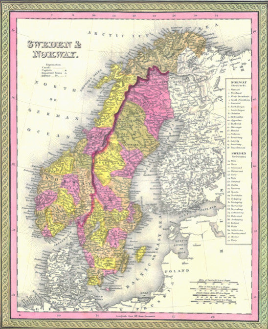 Map of Sweden and Norway, 1850, Mitchell and Cowperthwait