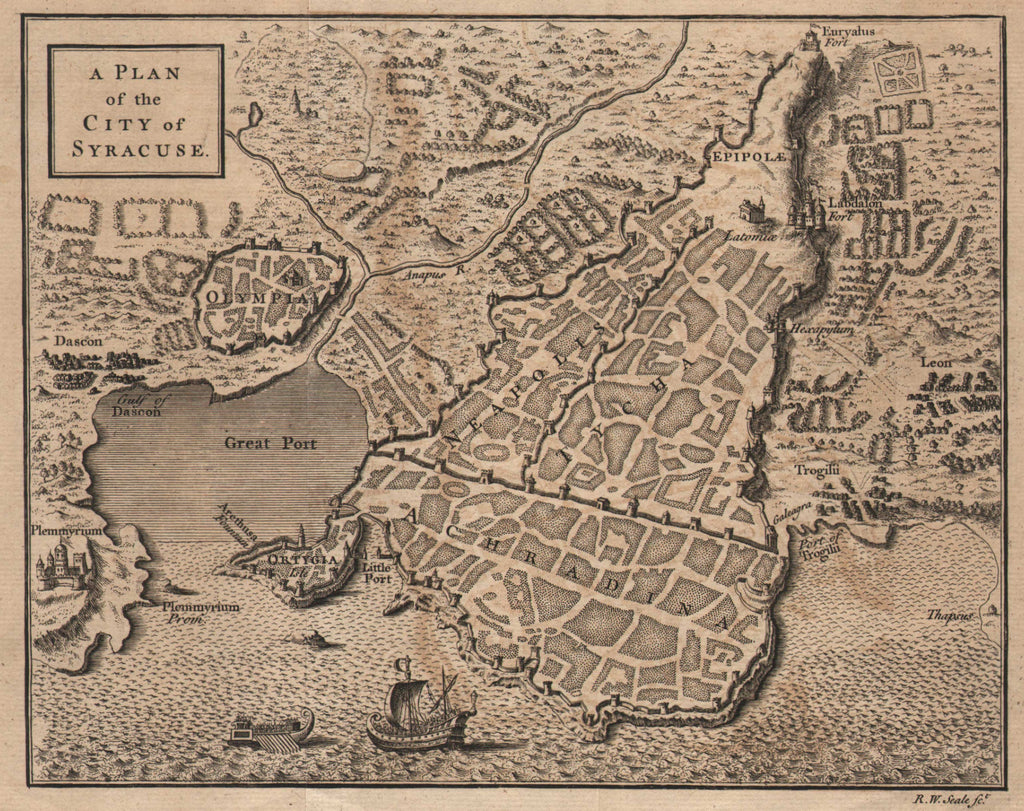 Map of Ancient Syracuse, c. 1768, Seale