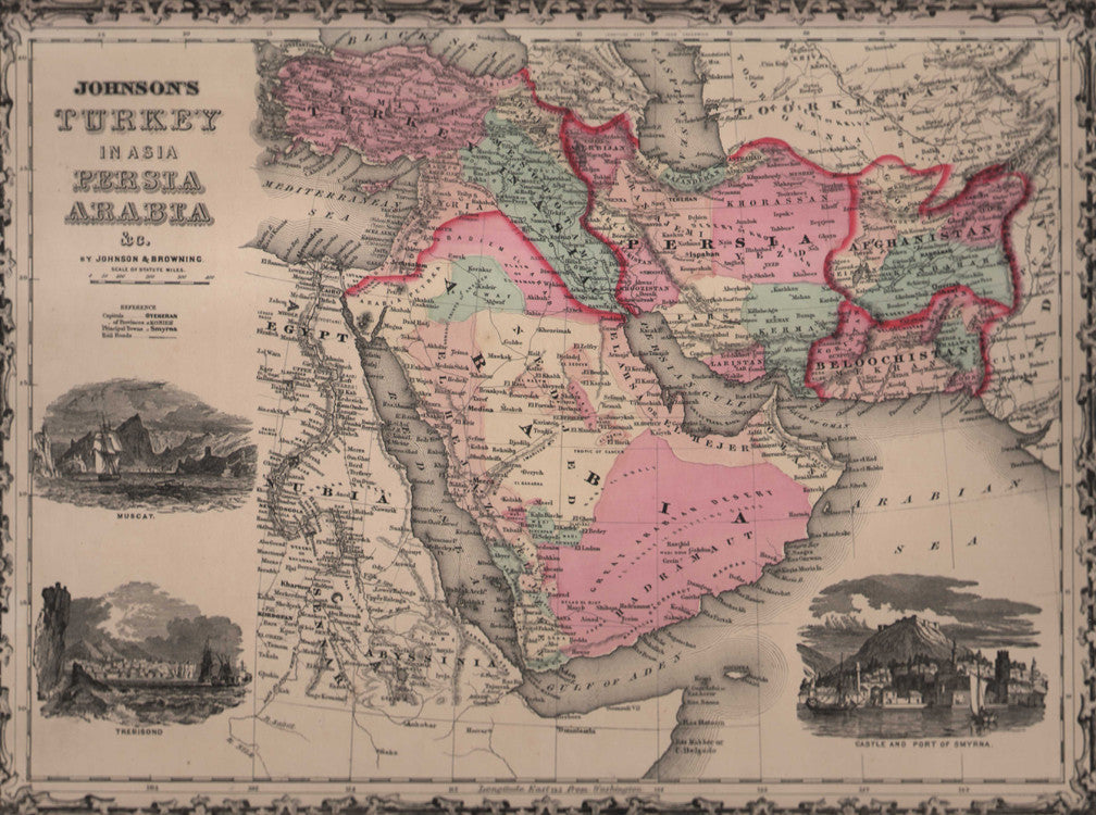 Map of Turkey in Asia, Persia, Arabia, etc. by Johnson, 1861.