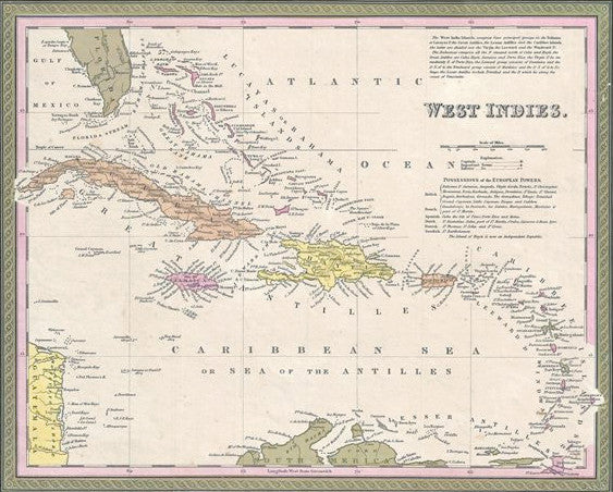 Map of West Indies, 1850, Mitchell and Cowperthwait