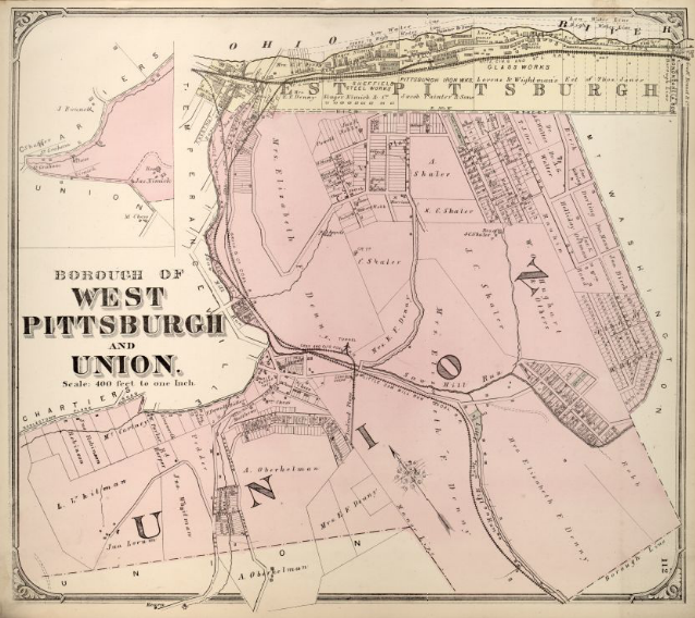 Hopkins' Map of the Boroughs of West Pittsburgh and Union, 1872