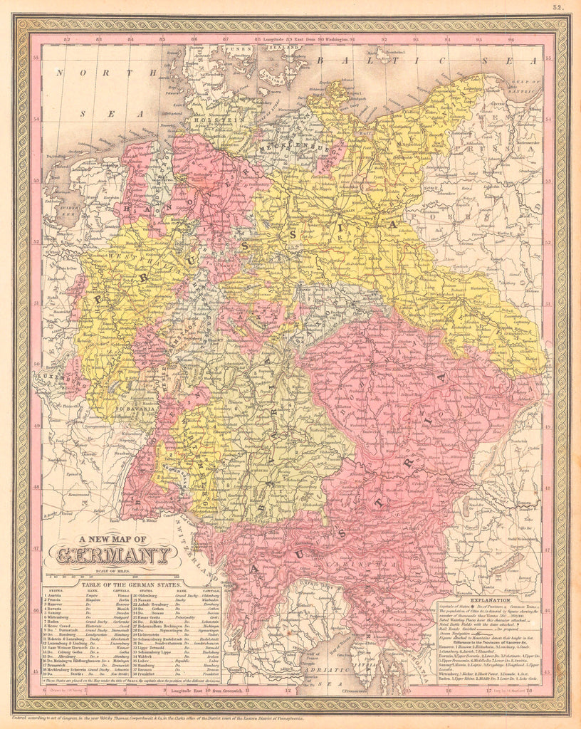 Map of Germany, 1850, Mitchell and Cowperthwait