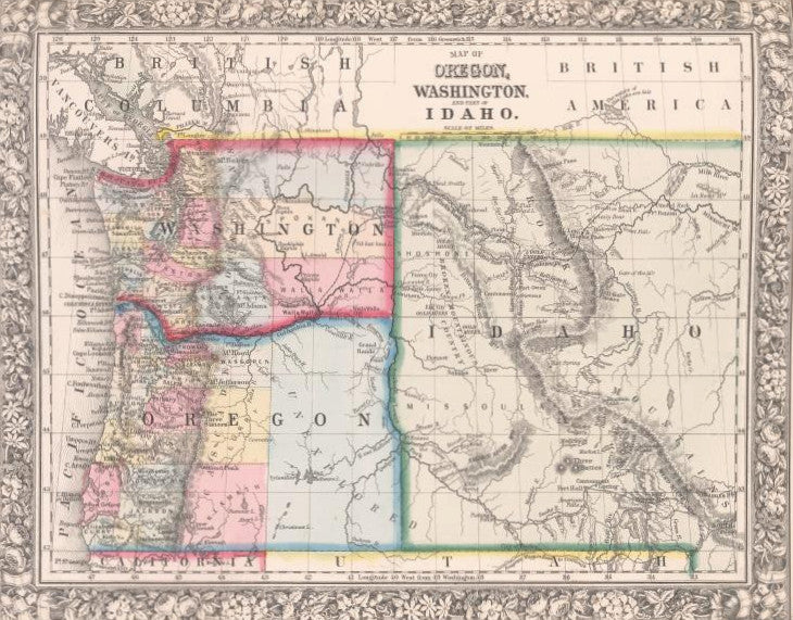 Map Of Oregon Washington And Part Of Idaho Mitchell - Map of oregon and washington
