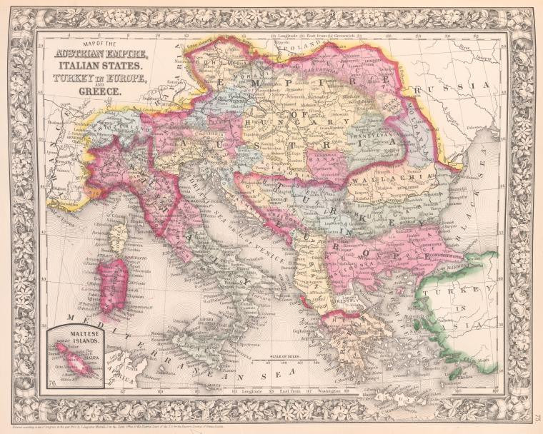 Map of the Austrian Empire, Italian States, Turkey in Europe and Greece, 1860, Mitchell