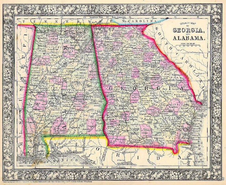 Map of Georgia and Alabama, 1860, Mitchell
