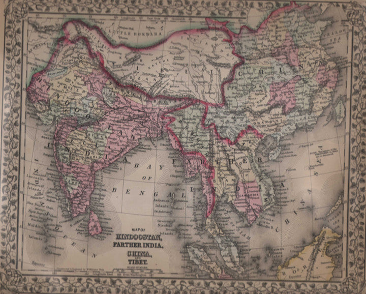 Map of Hindoostan, Farther India, China, and Tibet by Mitchell, 1870