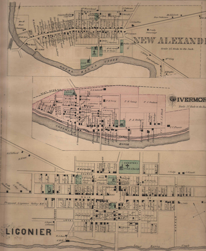 Map of New Alexandria, Livermore, and Ligonier, 1876.