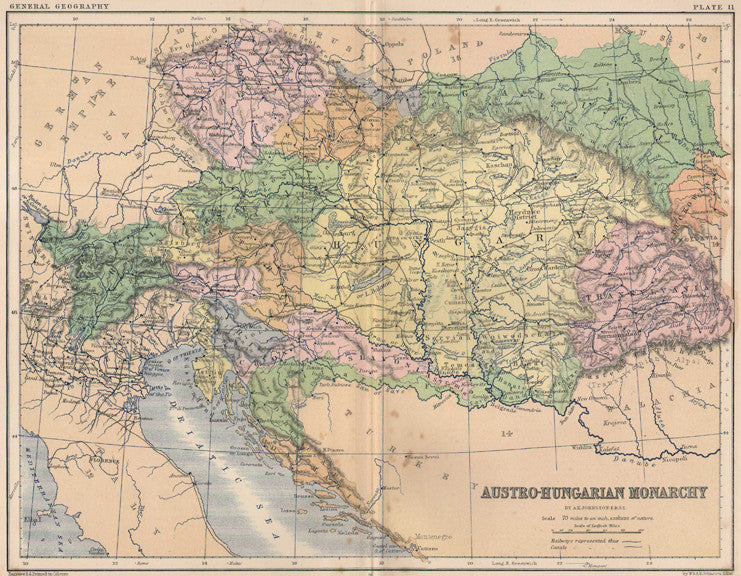 Map of the Austro-Hungarian Monarchy by Johnston, circa 1868