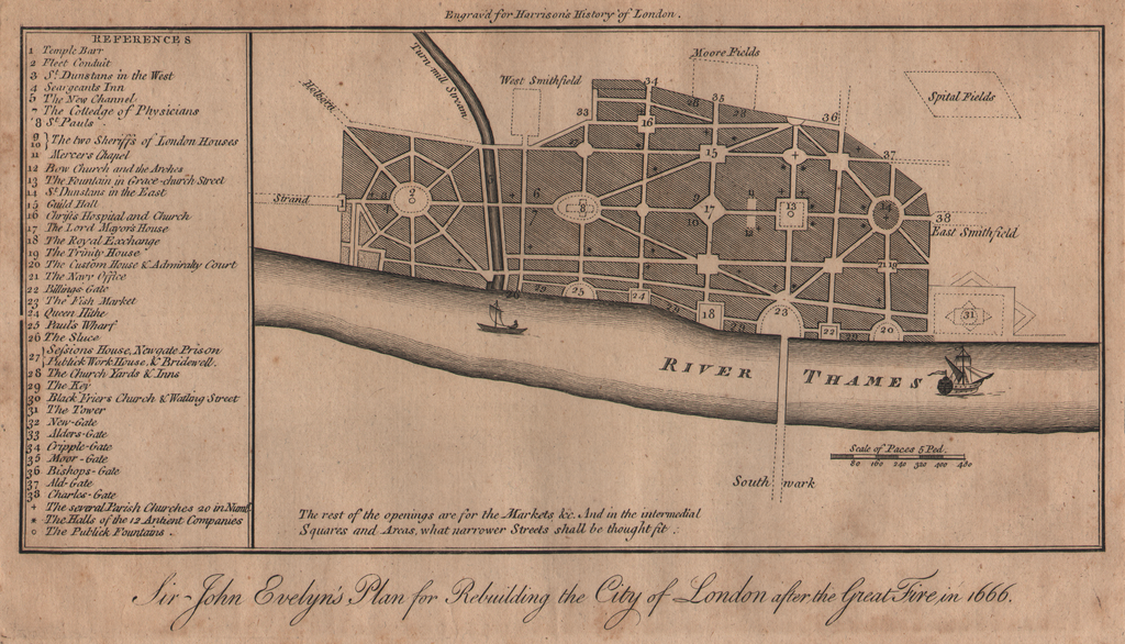 Sir John Evelyn's Plan for Rebuilding the City of London after the Great Fire in 1666, circa 1777