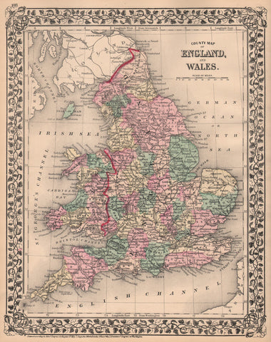 County Map of England and Wales by Mitchell, 1876
