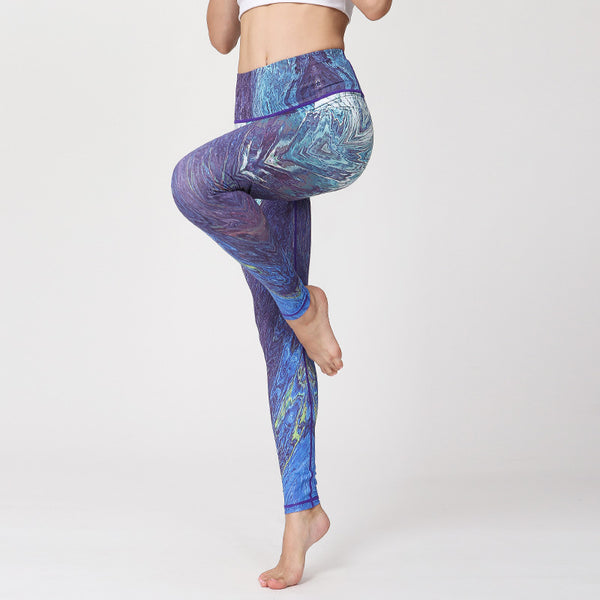2019 New Sports Fitness Printed Yoga Nine-minute Pants