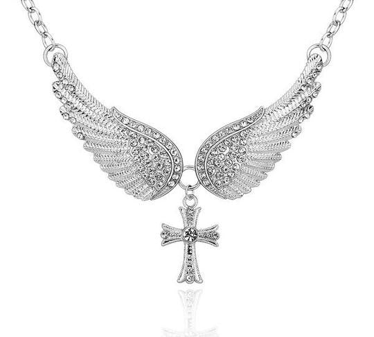 Angel Wings Cross Pendant Necklace - 40% OFF!