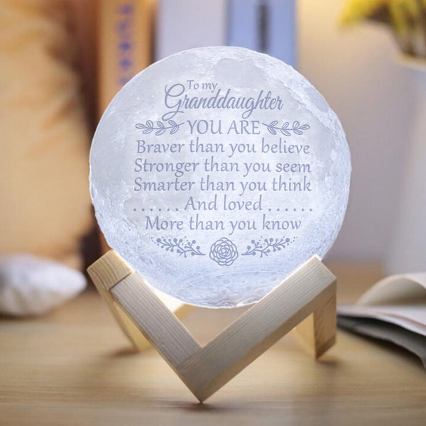 Granddaughter - Braver, Stronger And Be Loved More - Moon Lamp
