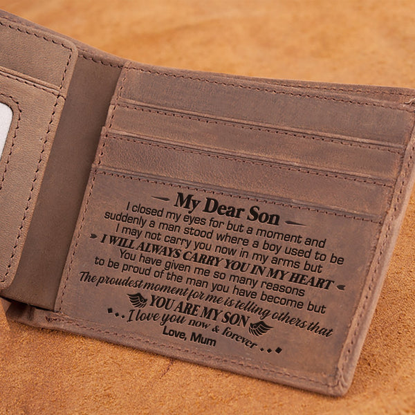 Mum To Son - I Will Always Carry You In My Heart - Bifold Wallet