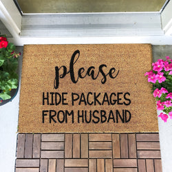 Funny Please Hide Packages From Husband Doormat