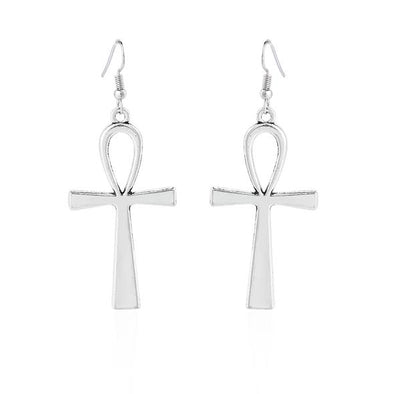Antique Silver Dangle Egyptian Cross Earrings