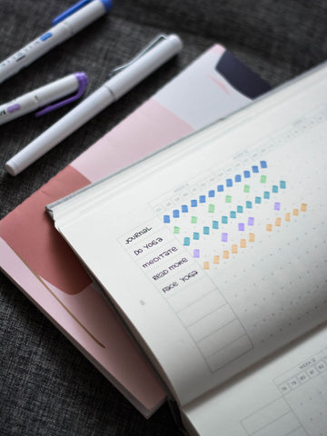 Journal with daily activities to keep motivated