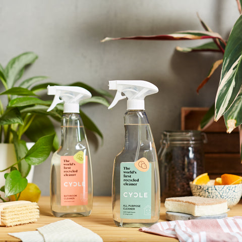 Cycle All-purpose cleaner and bathroom cleaner next to each other in a table. Cycle products are 90% recycled making it a sustainable cleaning product.