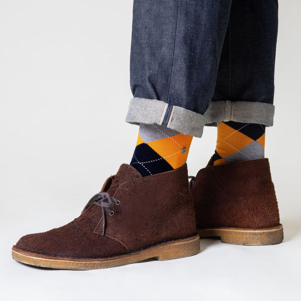 Burlington Manchester Orange Argyle Socks