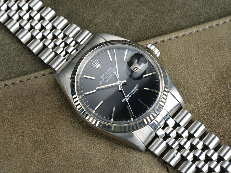 GLOSS BLACK DIAL ROLEX DATEJUST 16014