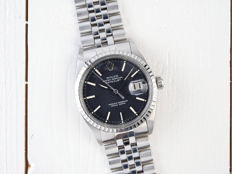 ROLEX 1603 DATEJUST MARBLE BLACK DIAL