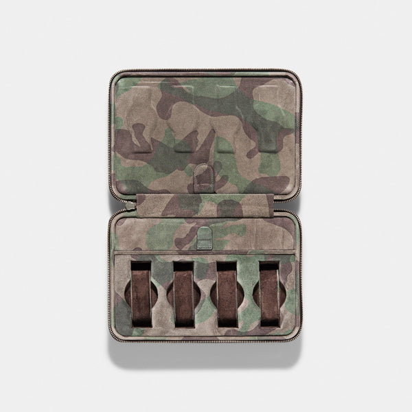 Grey Camo Suede Luxury Leather Watch Box