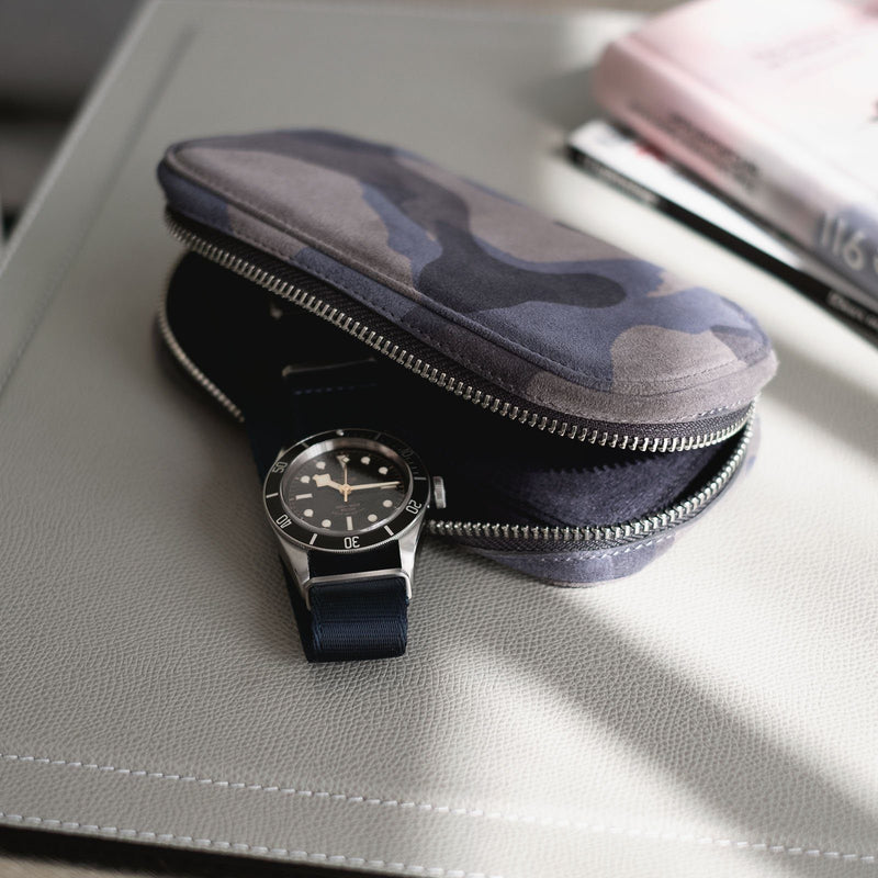 Blue Camo 2 Watch Leather Zip Pouch