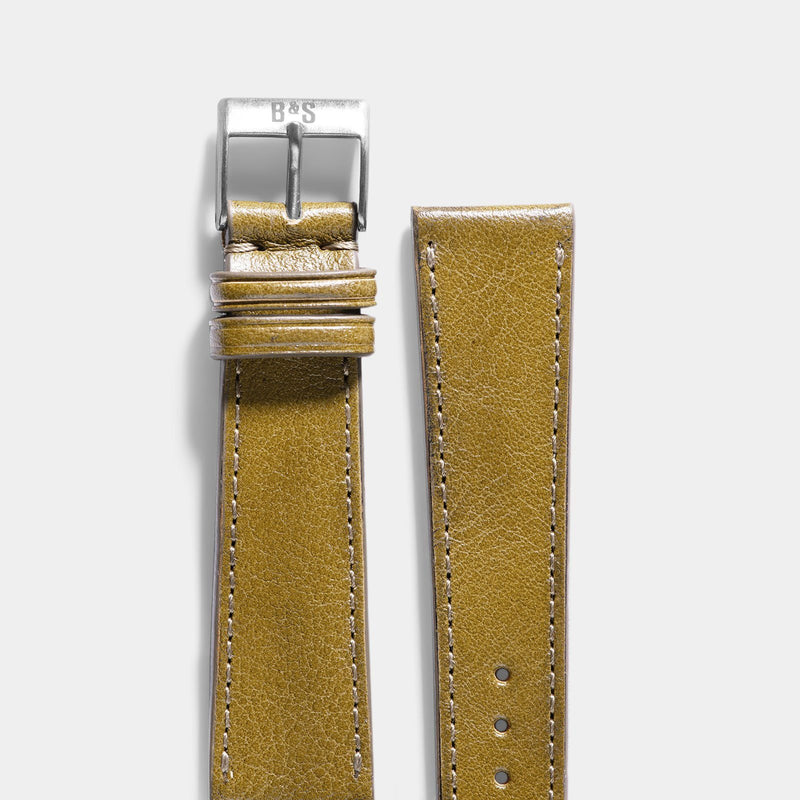 Light Olive Green Leather Watch Strap