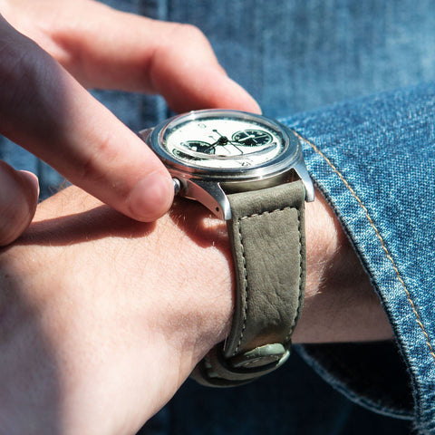 Olive Grey Nubuck Leather Watch Strap